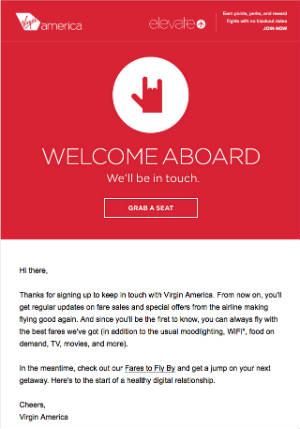 Virgin America Email Marketing Example