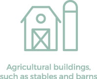 agricultural buildings such as stables and barns