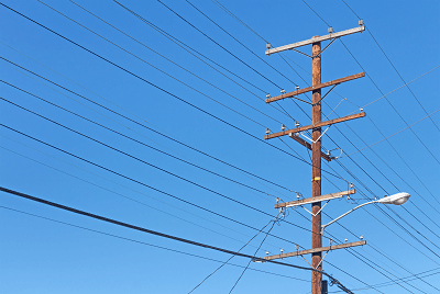 Utility Pole with Business Phone Lines